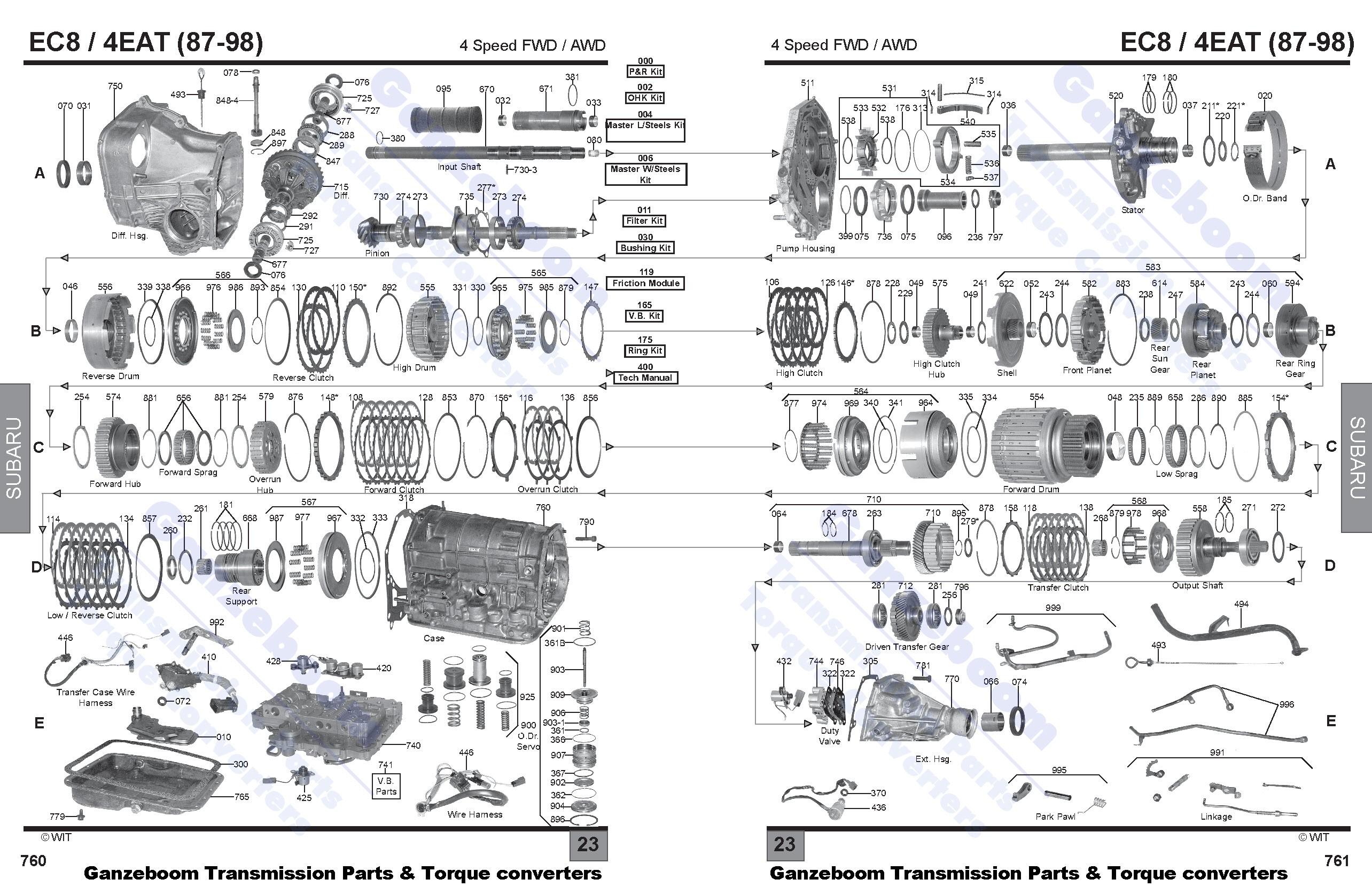r4ax-el (87-98) 4 speed with band - subaru - parts ... subaru automatic transmission diagram jeep wrangler automatic transmission diagram