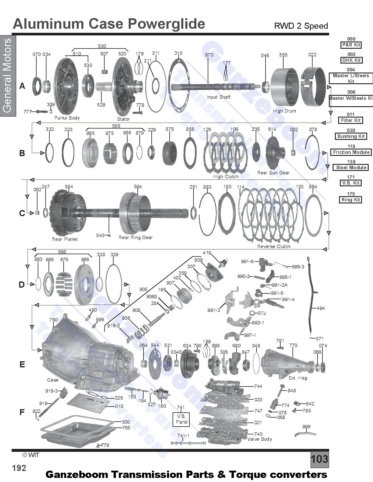 54 powerglide transmission diagram powerglide aluminium 2-speed (1962-1973)