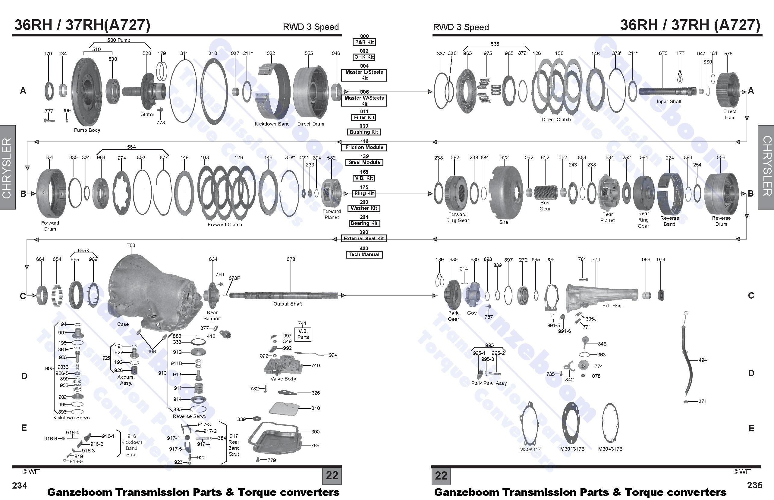 a727   tf8 Ford AX4N Transmission Diagram